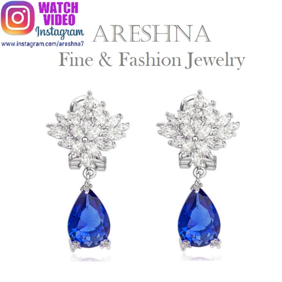 Areshna Jewelry - Sapphire Swarovski Crystals Waterdrop Earrings
